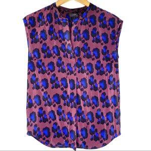 J. Crew silk sleeveless bordeaux wine print blouse
